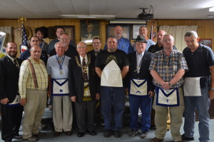 Bro. Jeffrey Williams and Most Worshipful Grand Master, Fred Bean, with Worshipful Master Danny Fisher and other brethren present for the degree.